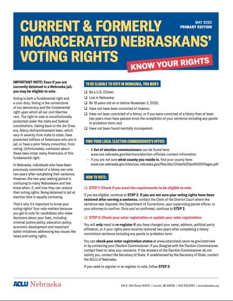 ACLU Current & Former Incarcerated Voting Rights Info