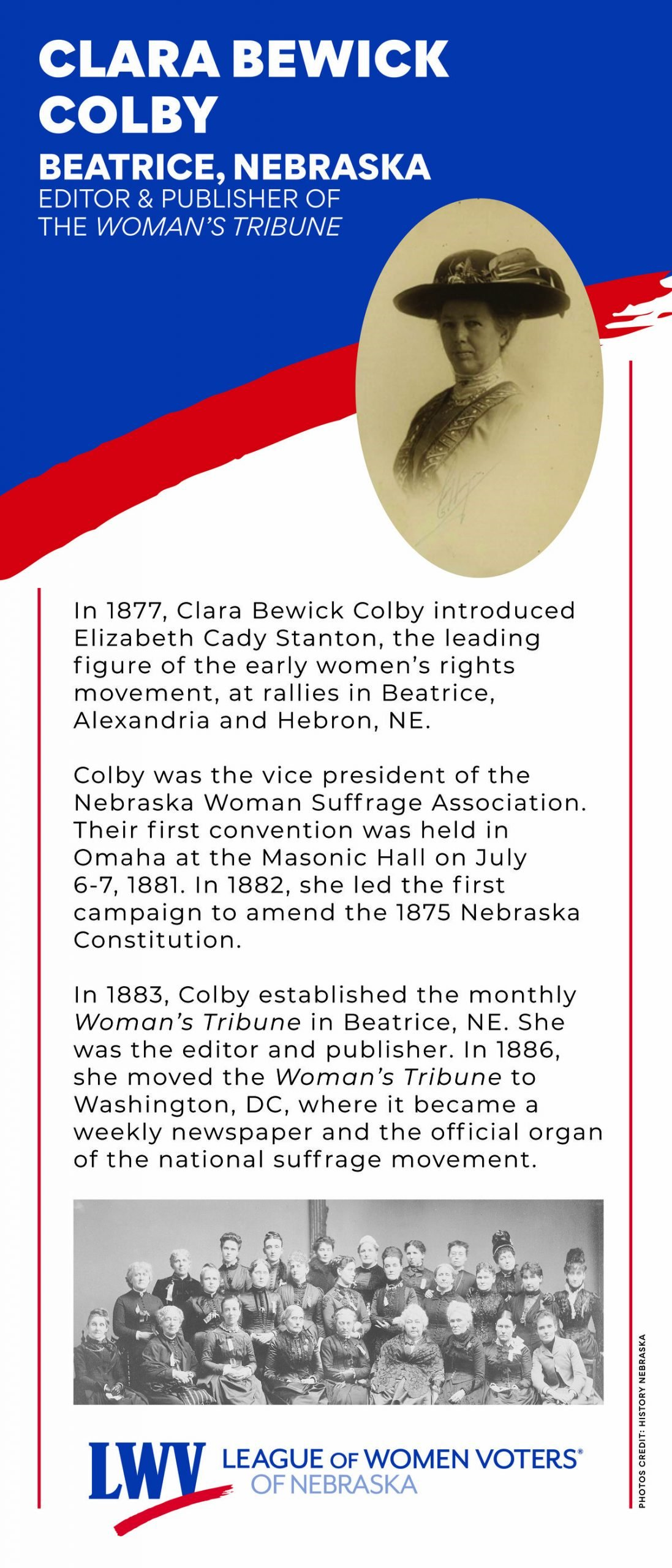 Centennial Banner featuring Clara Bewick Colby