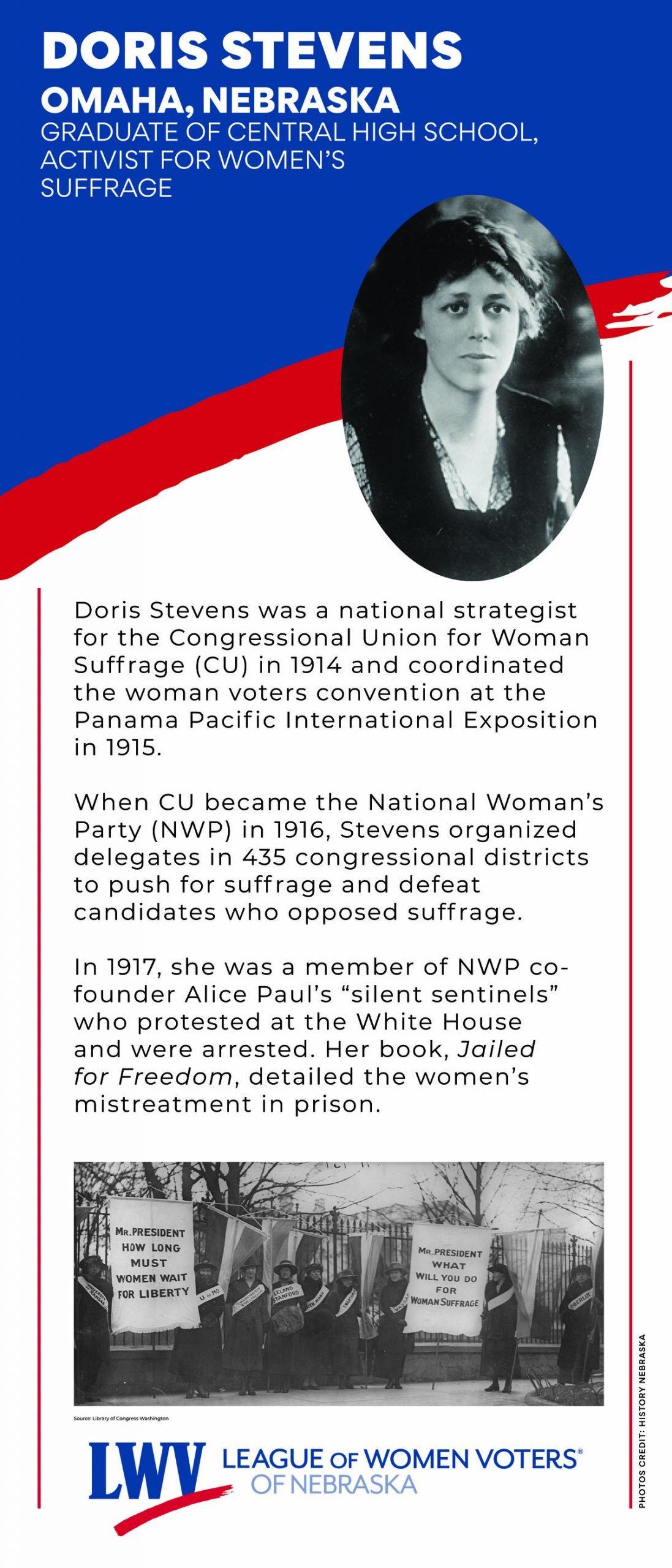 Centennial Banner featuring Doris Stevens