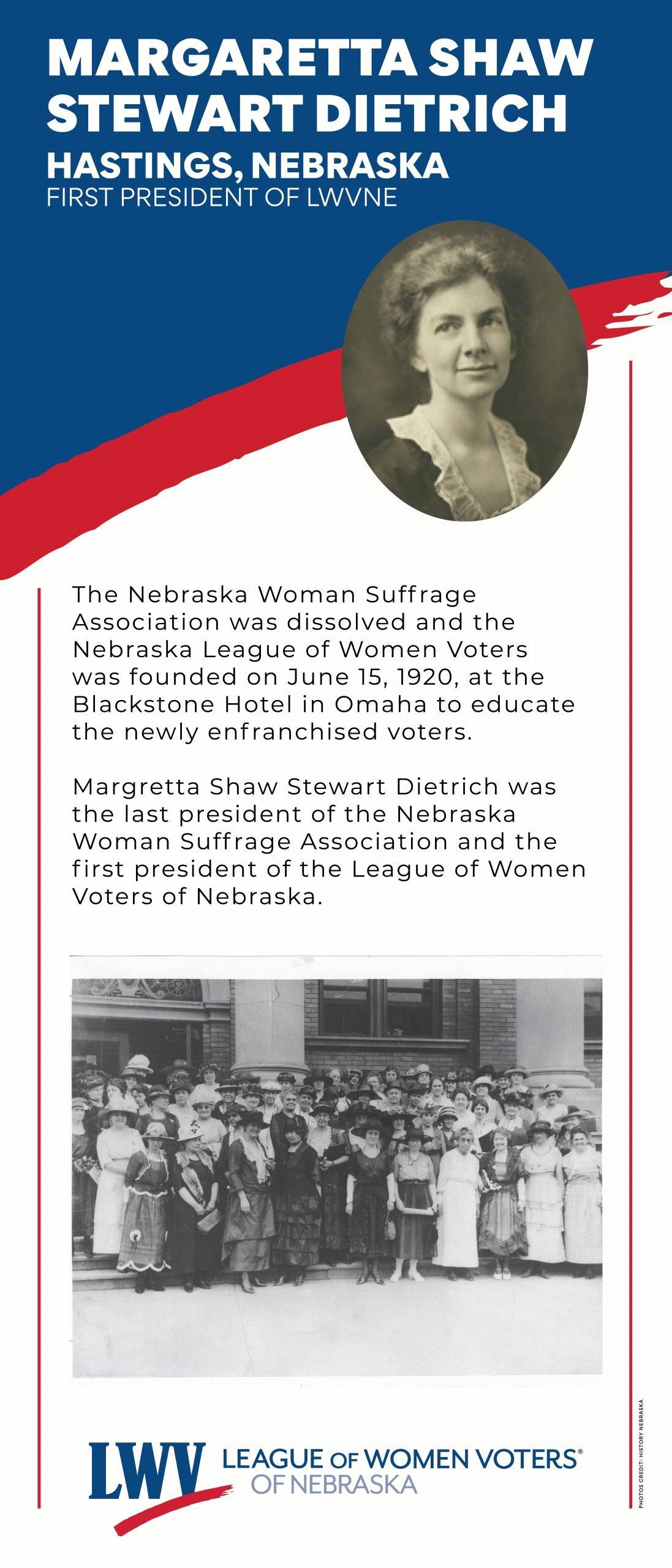 Centennial Banner featuring Margaretta Shaw Stewart Dietrich, first President of LWVNE