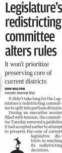 Article on Legislature's redistricting committee alters rules