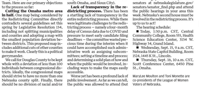 Continuation of article Midlands Voices: Legislature should adopt these key redistricting improvements