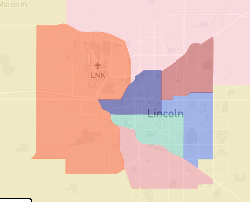 Lincoln Area Redistricting Map draw by LWVNE
